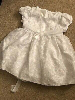 Baby Girls Beautiful White Bridesmaid Sequin Dress With Shorts Age 24 M 2 Years