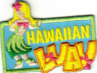 "/""HAWAIIAN LUAU/"" Iron On Patch Tropical Party Luau Hawaii"