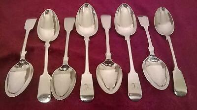 8 x Antique Fiddle Pattern Silver Plated Dessert Spoons - Dixon JH&Co DY&S