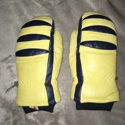Vintage KOMBI Woman's Leather Down Insulated Mittens Size Small.