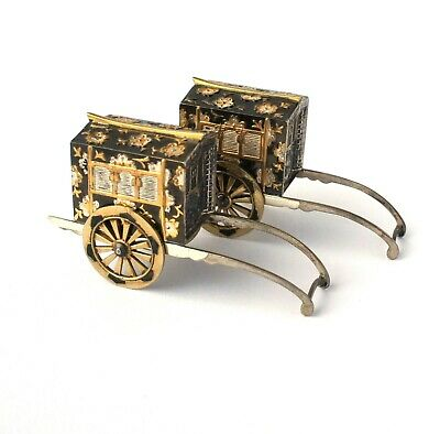 Vtg Japanese Novelty Sterling Silver Gold Plated Niello Rickshaw Salt & Pepper