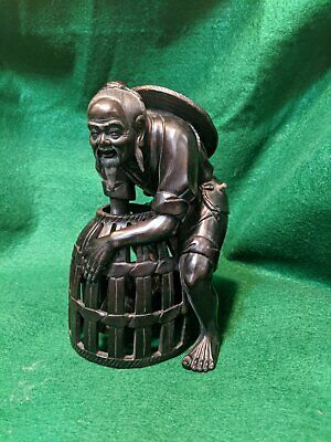 Hand-carved Mohagany Chinese Fisherman w fish in basket