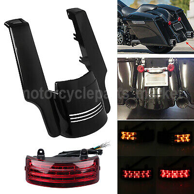 """Motor 5"""" Stretched Rear Fender Extension & Tri-Bar Tail Turn Light for Harley"""