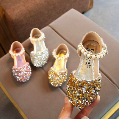 Toddler Infant Kids Baby Girls Pearl Bling Sequins Single Princess Shoes Sandals