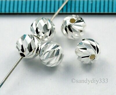6x BRIGHT STERLING SILVER LASER CUT ROUND SPACER BEAD 6mm 5.8mm #1572
