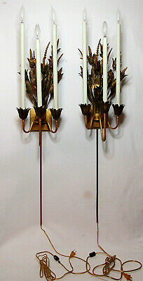 "Pair of 48"" VTG Italian Florentine Tole Gilt Wall Candle Sconces Candelabras"