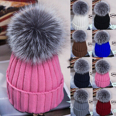 Kids Baby Winter Warm Knit Beanie Hat Boys Girls Faux Fur Pom Bobble New Cap UK