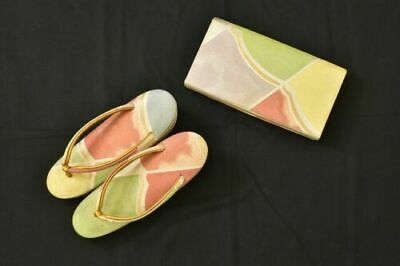 FAB! Vintage Japanese Lady's Pastel Zori Sandals & Clutch Bag Set 23.5cm (UK4-5)