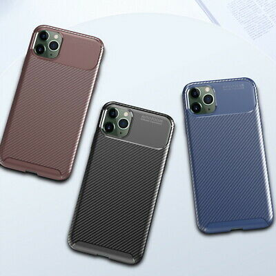 For iPhone 11 Pro Max Carbon Fiber Luxury TPU Shockproof Soft Rubber Case Cover