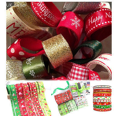 10PCS 1M Christmas Ribbon Bundles Pack Gift Wrapping Wreaths Decorations Crafts