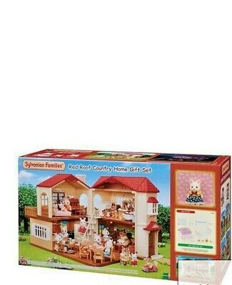 Sylvanian Families Red Roof Country Home Gift Set with Silk Cat+Bedroom Furnitur