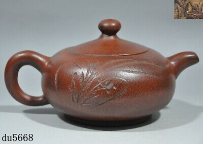 Chinese Yixing Zisha pottery carved orchid calligraphy Text Teapot pot Tea Maker