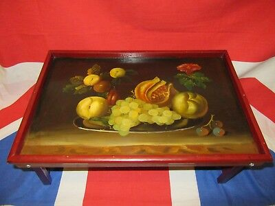 Vintage Hand Painted Fruit Picture Wooden Folding Breakfast Bed Lap Tray