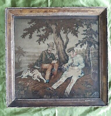 Antique 19Th Century Victorian Sporting Woolwork Picture Hunting Oak Shooting