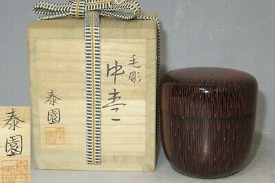 Japanese Tea caddy Natsume Chrysanthemum carving makie Lacquer Wooden urushi