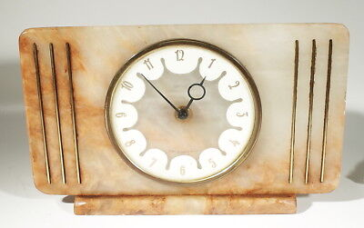 VINTAGE ALABASTER MANTLE CLOCK by SMITHS  Great Britain, NEEDS CLEANING TO RUN!