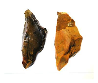 Paleolithic Neanderthal dual pointed 2 hand axe pick british stone age flint art
