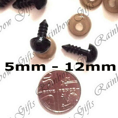 5mm - 12mm BLACK PLASTIC SAFETY EYES FOR SOFT TOY MAKING AMIGURUMI KNITTING BEAR