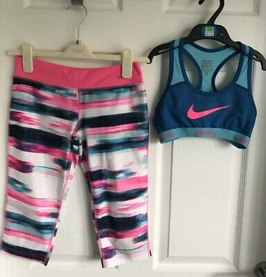 Girls Blue/Pink Mix Nike Dri Fit Sports/Bra Top & Shorts- Size Medium (10-12yrs)