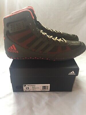 New In Box Adidas Mat Wizard 3 Wrestling Shoes Olive & Orange size 15