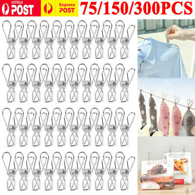 25-300X Stainless Steel Clothes Pegs Hanging Clips Pins Laundry Windproof Clamp