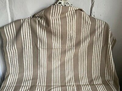 Vintage Ticking Fabric Taupe Cream French Mattress Herringbone Textile 266 x99cm