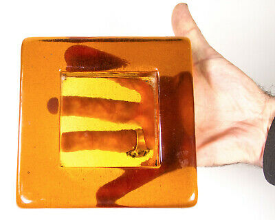 Mid Century Glass Ashtray Modern Cigar Cigarette Amber Transparent Square Tray