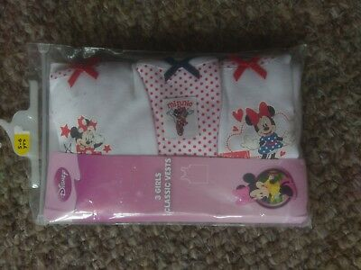 Gorgeous Three Pack of Red & White Minnie Mouse Vests Next age 5-6 NEW