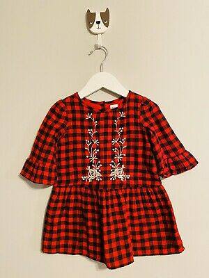 Baby Gap Girls Size 2 Years Red Buffalo Check/Plaid Dress with Embroidery Detail