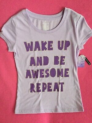 "Miss Attitude ""Wake Up And Be Awesome..."" Tee Girls Size 1012 NWT"