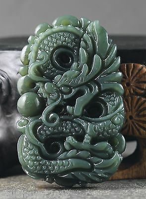 Chinese natural Hetian jade hand-carved statue of dragon pendant  a1132