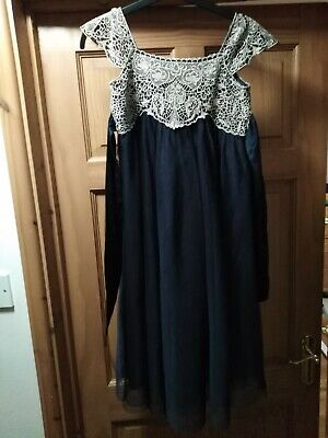 Monsoon Girls Estella Bridesmaid Dress Age 8  Navy Blue With Gold embroidery