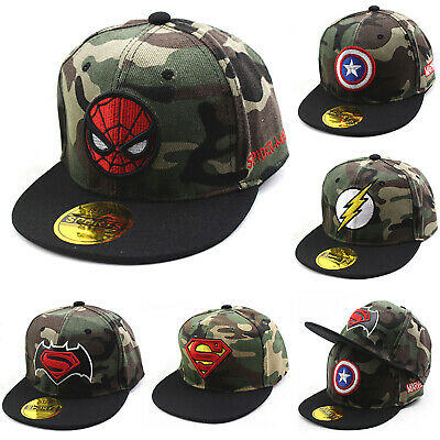 Kids Boys Girls Camo Superhero Baseball Cap Adjustable Snapback Outdoor Sun Hats