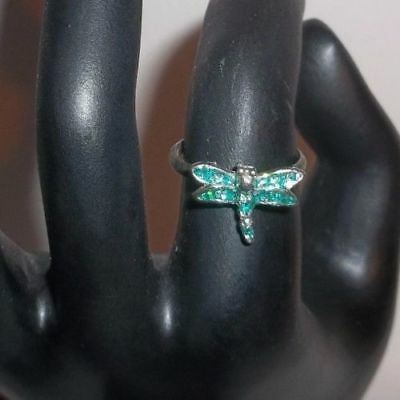Vintage Petite Dragonfly Ring - Size 6 - with Green Silver Confetti Sparkles!