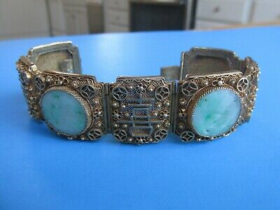 Vintage Chinese Export Vermeil & Filigree Panel Bracelet With Jade Inserts