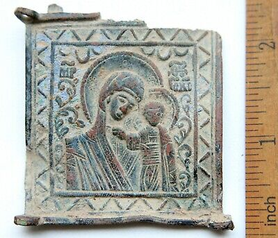 "Antique Russian Orthodox Bronze Enamel Icon ""Mother of God Kazan"""