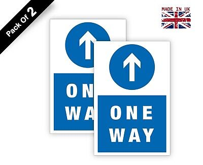 2x One Way Ahead Arrow Road Traffic Vehicle Parking Signs Stickers SGN28