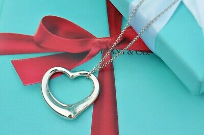 """AUTHENTIC Tiffany & Co. XL Open Heart Necklace 18"""" w/ Box and Pouch (#F314)"""