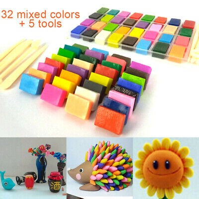 32 Mixed Color Oven Bake Polymer Soft Clay Modelling Moulding DIY Toy+5 Tools