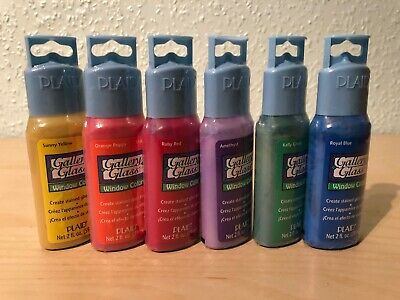 PLAID Gallery Glass Window Color - Stained Glass Paint Brights Set - 6 Colours