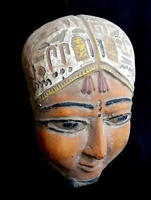 Very Unique Stone Mask Ancient Egyptian Antique Hieroglyphic Bust Mummy Bead