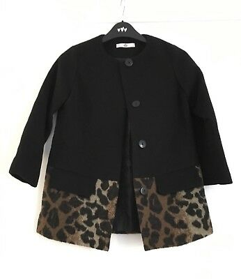 M&S Girls Leopard Print Coat Size 7-8yrs Vgc Worn Once