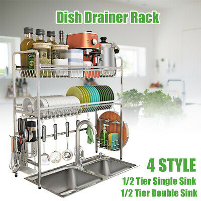 Over Sink Dish Drying Rack Drainer Stainless Steel Kitchen Cutlery Holder 2 Tier