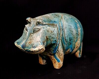 Big Statue Glazed Hippo Egyptian Antique Rare Taweret Amulet Blue Nile Figurine