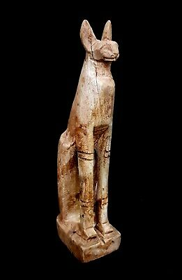 Rare Statuette Bastet  Amulet Ancient Egypt Antique Cat Faience Bast Figurine