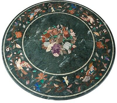"36"" Green Marble Table Top Pietra Dura Handicraft art work"