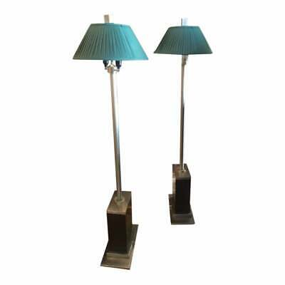 Pair of 1960s Wood and Chrome Floor Standing Lamps Working Order