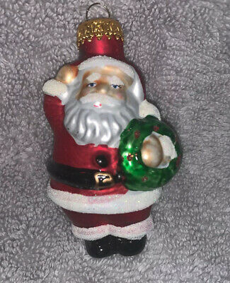Blown Glass Christmas Ornament Santa Claus 3.25""