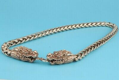 Retro Chinese Tibet Silver Necklace Sacred Dragon Mascot Collection Gift