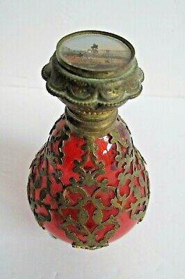 French Antique Cranberry Glass Perfume Bottle Heavy Ormulo & Painted Scene
